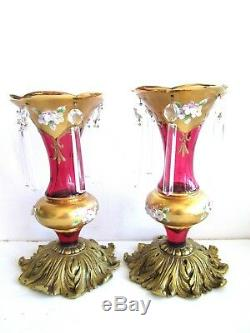 Czech/bohemian Cranberry Glass Gilt Mantle Lusters Brass Base