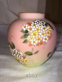 Decorated Mount Washington Burmese Art Glass Vase-Enameled Flowers-Victorian