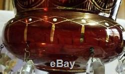 ELEGANT SIGNED ANTIQUE MOSER BOHEMIAN RUBY LG MANTLE LUSTER With GOTHIC PRISMS