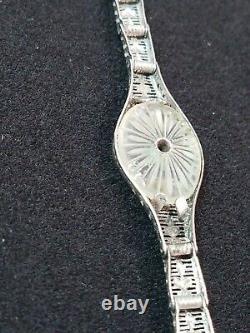 ESEMCO Fine Camphor Glass Sterling Silver Filagree Art Deco Bracelet Victorian