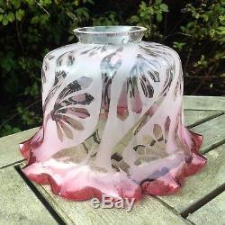 Edwardian Art Nouveau Etched Cranberry Glass Shade, 6.5cm / 2 Fitter Oil Lamp