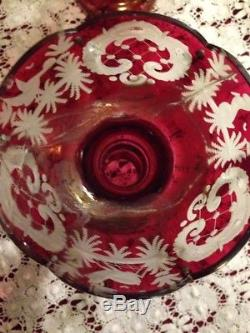 Egermann Glass Ruby Red Mantle Lustres Prism Victorian
