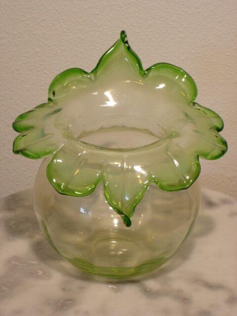 English Art Glass Jack In The Pulpit Vaseline Green Opalescent Vase