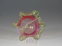 Exquisite Victorian Pink Opalescent Basket Green Trim & Crystal Handle c. 1890