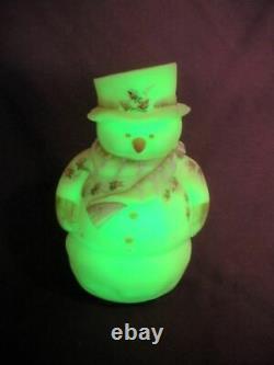 FENTON Burmese Art Glass FROSTY SNOWMAN Fairy Lamp Mint Van Zile Votive Candle