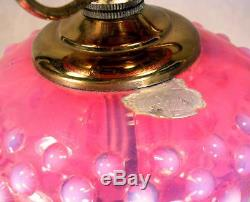 FENTON Cranberry Opalescent Hobnail Art Glass Font Student Table Lamp Orig Label