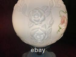 FENTON LAMP GONE With The WIND GWTW MILK GLASS LAMP ROSES, HAND PAINTED FLOWERS