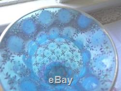 Fabu-glass! Moser Heavily Enameled Blue Opalescent Glass Vase- Lilac & Off-white