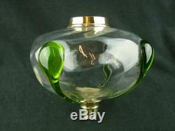 Fabulous Antique Art Glass Oil Lamp Font, Clear Swirl Glass With Applied Decor