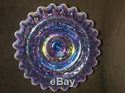 Fenton 1167 OQ Violet iridescent crest Hobnail Fairy lamp Light -READ DESCIPTION