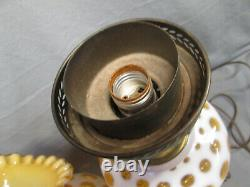 Fenton AMBER HONEYSUCKLE COIN DOT OPALESCENT Electric Large Lamp 23.75 tall