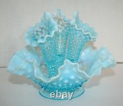Fenton Art Glass Blue Opalescent Hobnail Epergne Bowl 3 Lily Horn Vases Vintage
