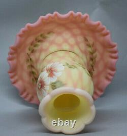 Fenton Art Glass Burmese Satin Diamond Optic Fairy Lamp Musuem Collection 2002
