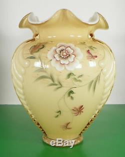 Fenton Art Glass Heirloom QVC Gold Overlay Feather Vase Tudor Rose 77/800