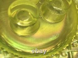 Fenton Art Glass Yellow Opalescent Hobnail Epergne Bowl 3 Lily Horn Vase Vintage
