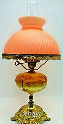 Fenton Art Glass hand painted Burmese student lamp with solid Color Shade Pretty