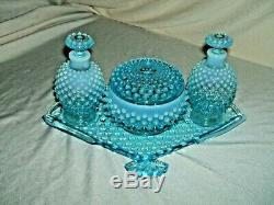 Fenton Blue Opalescent Hobnail Fan Vanity Dresser Set Rare 7 Piece