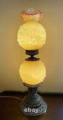 Fenton Burmese Huge 36 Lamp GWTW Cabbage Rose Satin Glass Great Condition