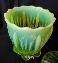 Fenton Cactus Topaz Vaseline Glass LARGE Covered Cracker Cookie Jar RARE
