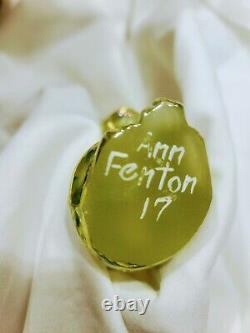 Fenton Cat Kitten Rare Grooming Hand Painted Vaseline Signed By Ann Fenton