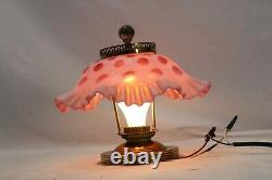 Fenton Ceiling Light Coin Dot Cranberry Shade Ruffled Lamp Tested Working
