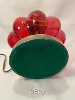 Fenton Cranberry Drapery Melon Glass Parlor Dresser Vanity Lamp 16.75H Vintage