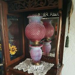 Fenton Cranberry Opal Hobnail Electric Parlor Lamp Marble Base Excellent Vintage