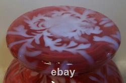 Fenton Cranberry Opalescent Daisy and Fern Apothecary Jar RARE Large 10 Size