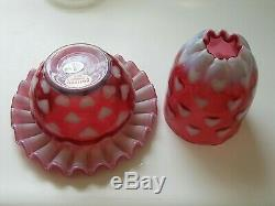 Fenton Cranberry Opalescent Fairy Light Heart Optic 3 Pc Lamp Sentimental NIB