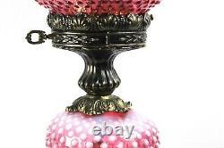 Fenton Cranberry Opalescent Hobnail Pattern Pillar GWTW Lamp 1970's
