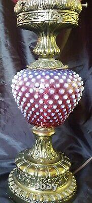 Fenton Cranberry Opalescent Hobnail Pattern Pillar GWTW Lamp 24 GORGEOUS