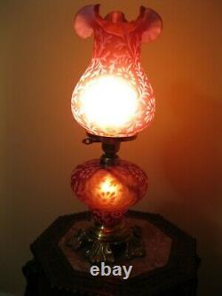 Fenton Daisy Fern Cranberry Opalescent Lamp 3 Way Parlor Light 20 Hurricane