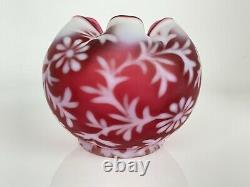 Fenton Daisy & Fern Cranberry Satin Glass Ruffled Rose Bowl