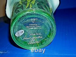 Fenton Designer Showcase Ser Vase & base purple green floral motif 3 signatures