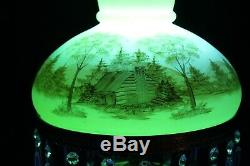 Fenton Glass 1976 #7412 Custard Hand Painted Log Cabin Student/Parlor Lamp