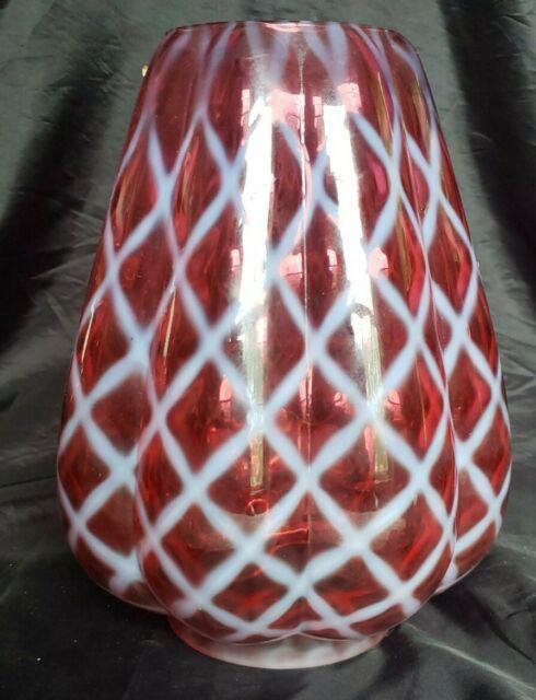 Fenton Glass Mellon Cranberry Opalescent Diamond Optic Lamp Shade Excellent