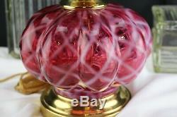 Fenton Glass Mellon Opal Trellis Diamond Optic Cranberry Table Lamp 17