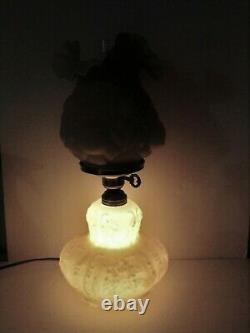 Fenton Glass Puffy Rose Lamp Honeysuckle Cased