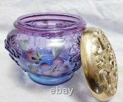 Fenton Glass Signed Purple /Plum Jar Brass Lid Limited Edition 1062 /1250