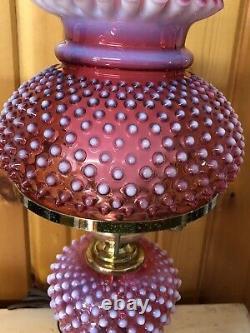 Fenton Hobnail Glass Lamp Cranberry Opalescent Chimney & Brass Base 22