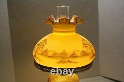 Fenton Lamp Hand Painted Signed Glass By B. Cowers