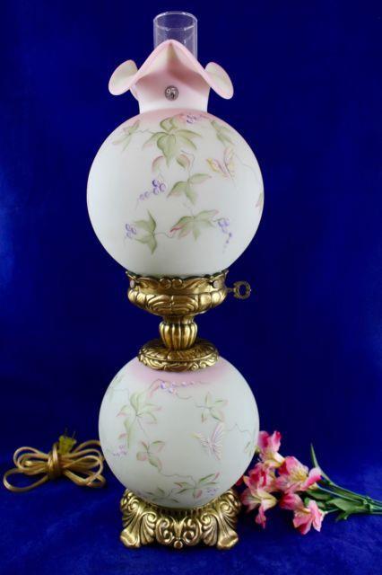 Fenton Lotus Mist Burmese Gwtw Lamp Butterfly & Berries 95th Anniv. Signed Fleak