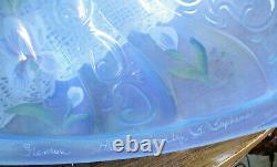 Fenton Misty Blue HP Irises Paisley Iridescent Lamp S. Stephens Original Sticker