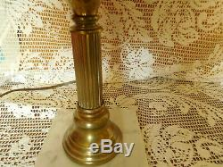 Fenton Opalescent Swirl Brass and Marble Electric Table Lamp & MILK Glass Shade