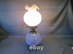 Fenton PINK Carnival HOBNAIL Gone with the Wind Victorian Electric Lamp 23 LG