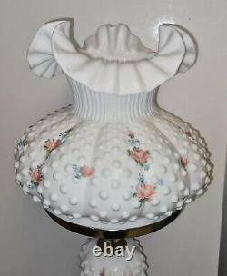 Fenton Painted by Michael Dickerson White Glass Hobnail Lamp Student Working