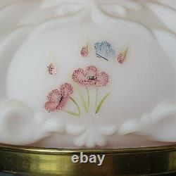 Fenton Pink Burmese Lamp Hand Painted Pink Poppy flowers &Butterfly Signed #364