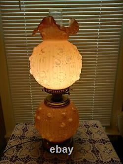 Fenton Pink Rosemilk Overlay Rose GWTW Gone with Wind 3- Way Light Table Lamp ONLY