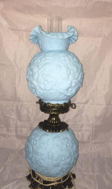 Fenton Poppy Blue Satin Glass Gone With The Wind Lamp
