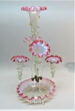 Fine 22.5 VICTORIAN-ERA 6-Piece American Art Glass Epergne Vase c. 1880 Ex Cdn